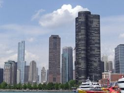 ships in harbor at downtown, usa, illinois, chicago