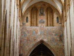 fresco at quire in gothic interior of ulm cathedral, germany, munich
