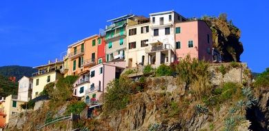 colorful old houses on rock under blue sky, italy, cinque terre