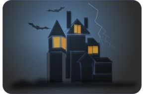 bats in dark sky at haunted house, halloween illustration