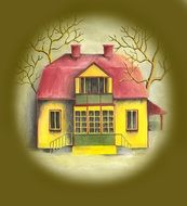 yellow haunted house with red roof, illustration