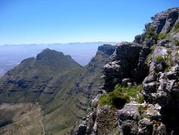 devil's peak at blue sky, scenic mountain landscape, south africa, cape town