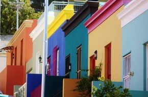ascending row of colorful houses, south africa, cape town