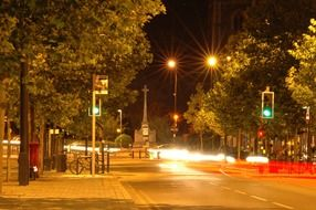 evening city street lights
