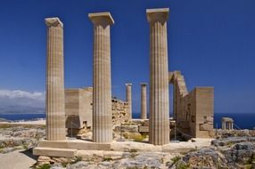 panoramic view of ancient greek ruins on a sunny day