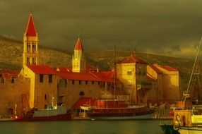 boats on water in scenic old town, croatia, dalmatia, trogir