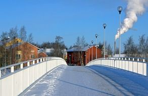 finland Snowy bridge building view