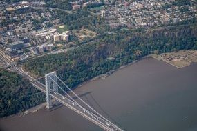bird's eye view of a large bridge in New York