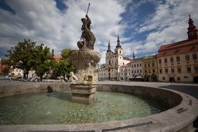 fountain in town square in Jihlava