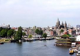 panoramic view of the harbor in amsterdam