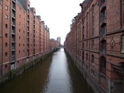 brick houses on the canal in hamburg