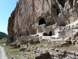 cliff dwelling in the bandelier national monument, United States