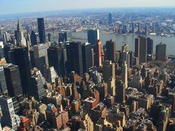 top view of new york city on a sunny day