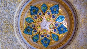 bottom view on chandelier in the Sheikh Zayed Mosque, Abu Dhabi
