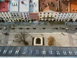 top view of street in old city, ukraine, lviv