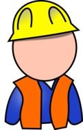 silhouette of a builder in a yellow helmet