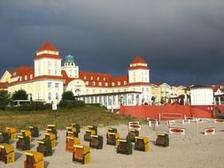 resort hotel against the backdrop of a stormy sky