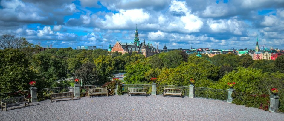 old city in scenery summer landscape, sweden, stockholm