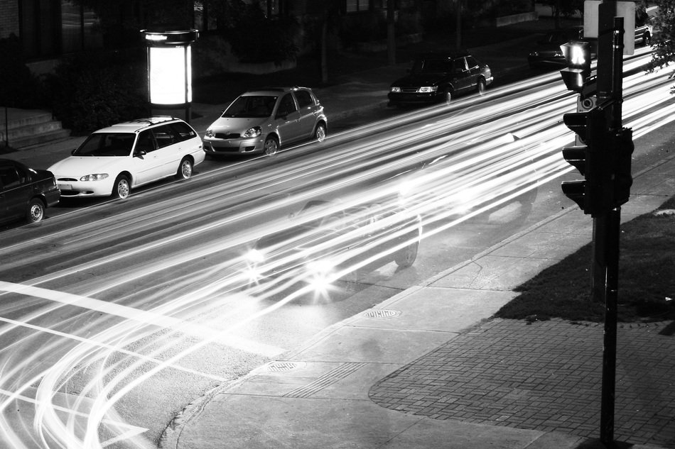 traffic lights and cars on night street