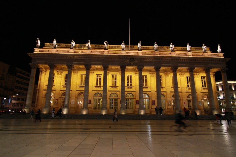 building with columnar at night, france, bordeaux