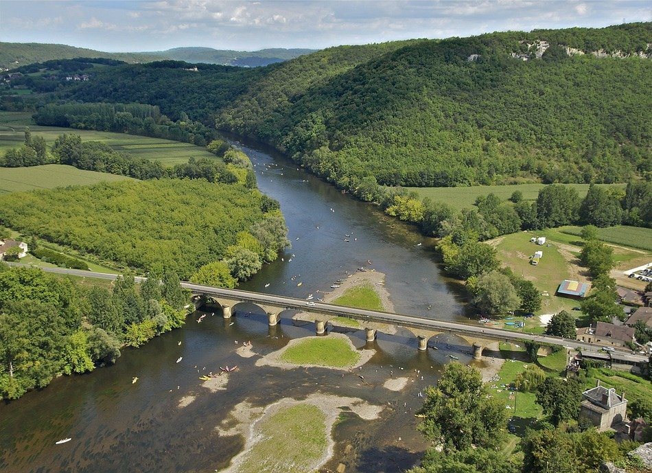 aerial view of dordogne river in summer countryside, france