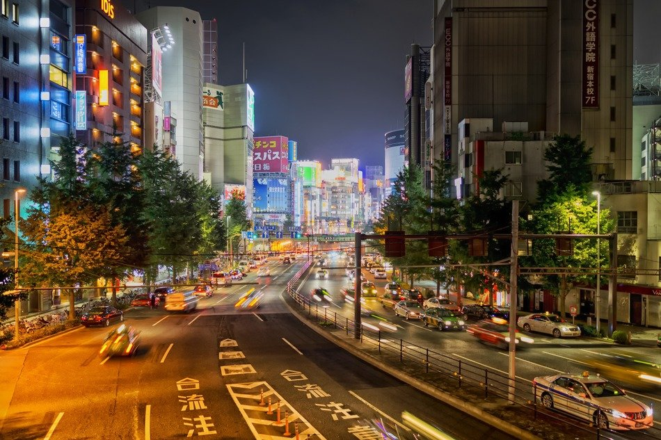 traffic on street at night, japan, tokyo