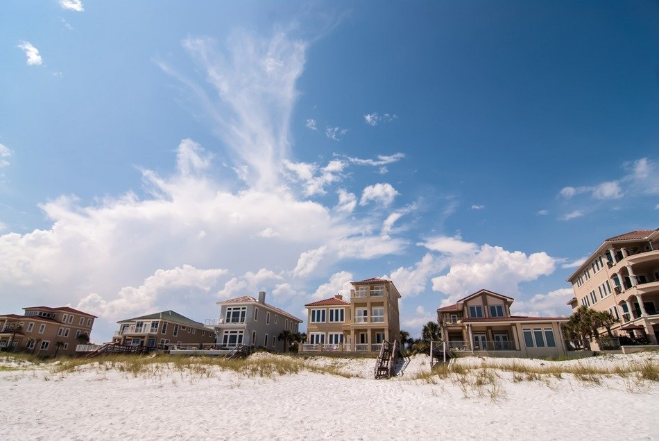 houses on sand beach at sky, usa, florida, gulf of mexico, okaloosa