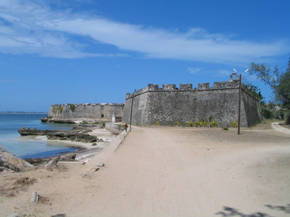 old Portuguese fort on beach at sea, mozambique