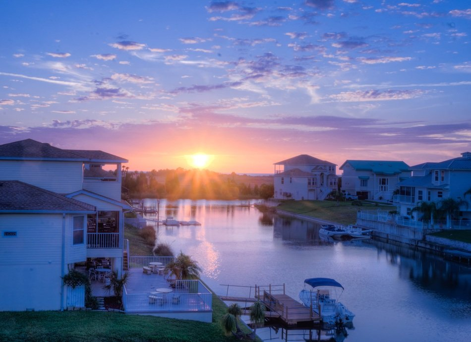 romantic sunset canal florida architecture