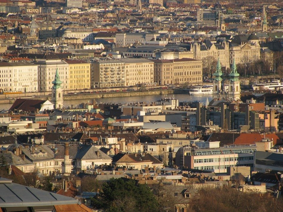 city at spring evening, top view, hungary, budapest