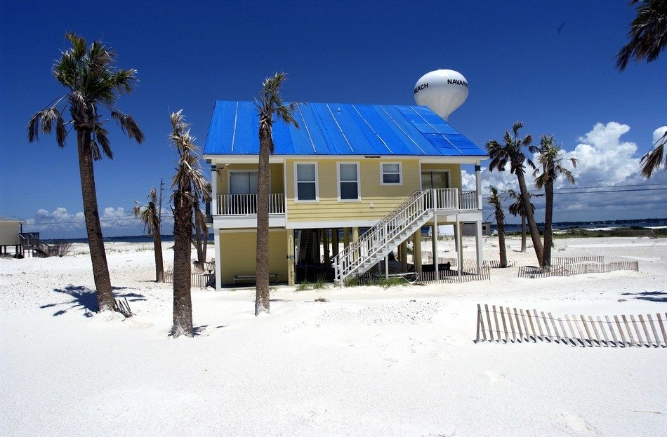 house on white sand beach, usa, florida, pensacola