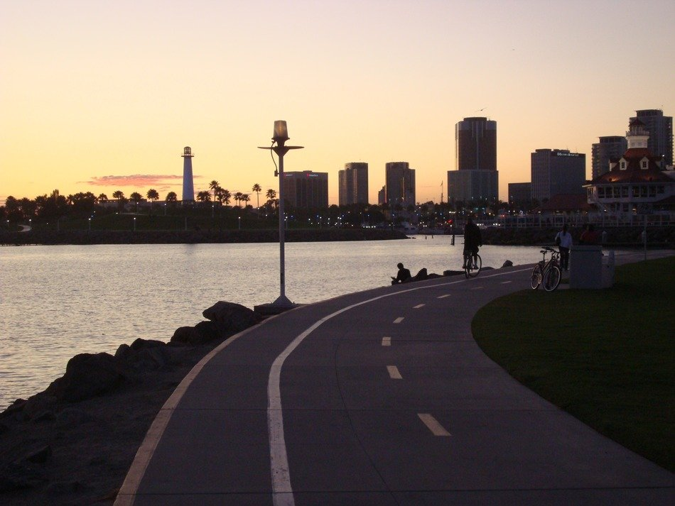long beach skyline at dusk, usa, california