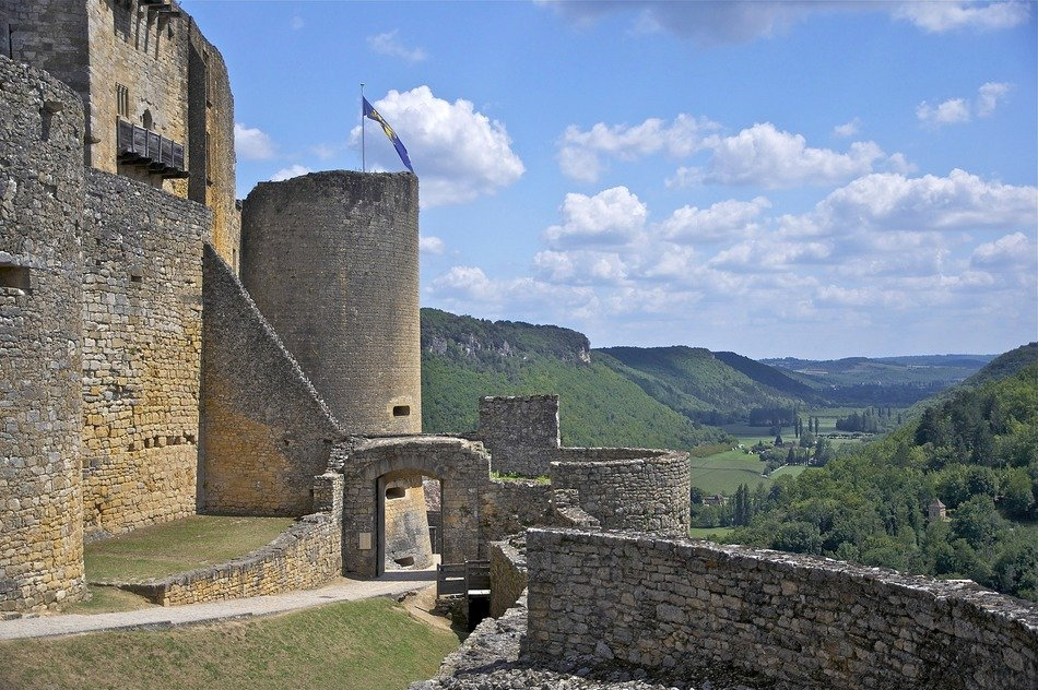 ruins of medieval castle in scenic summer landscape, france