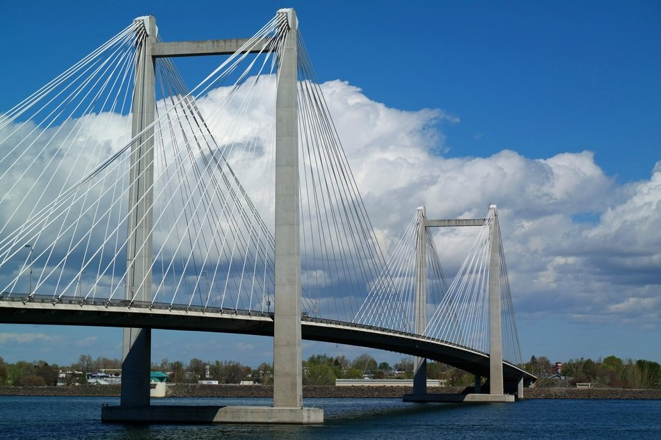 cable-stayed bridge across a river