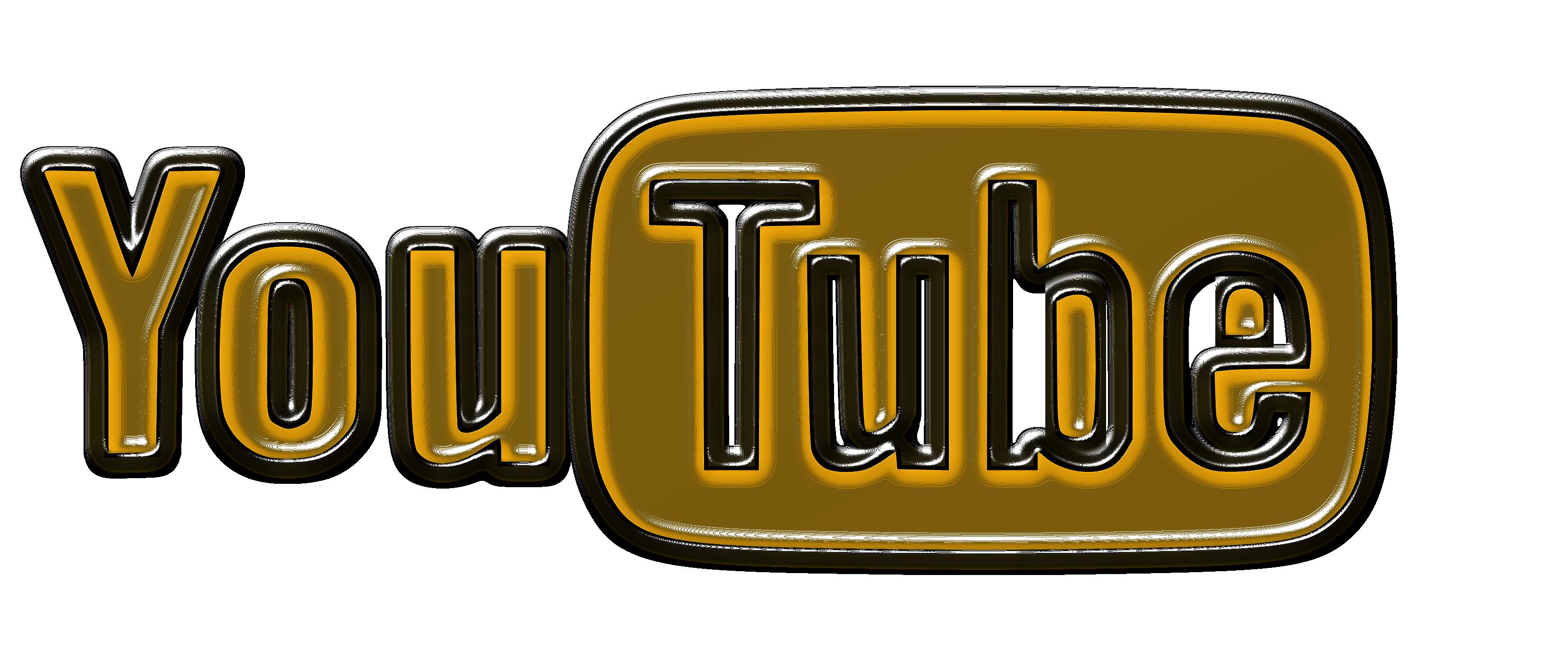 Golden and white logo of YouTube free image