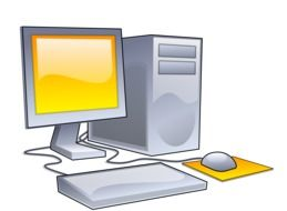 gray computer with a yellow screen as a graphic illustration