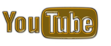 golden and white logo of YouTube