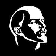 black and white portrait of Lenin is a symbol of socialism