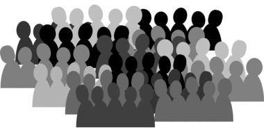 people group crowd team isolated communication black white drawing