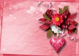 Pink valentine day greeting card
