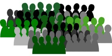 people group crowd team isolated communication black green white drawing