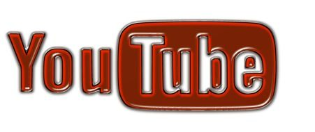 white and red logo of YouTube