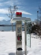 telephone booth in the snow