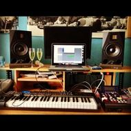 recording studio with music equipment
