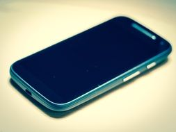 Blue phone with touch screen