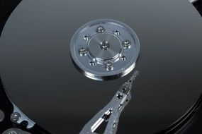 Top view of the hard drive's reading heads