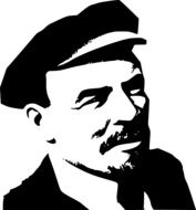 black and white portrait of Lenin in a cap