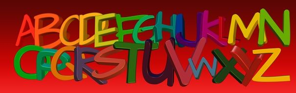 red banner with colorful alphabet