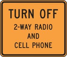 road information turn off 2-way radio and cell phone drawing