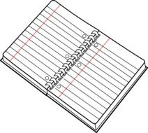 graphic image of a notebook in a ruler